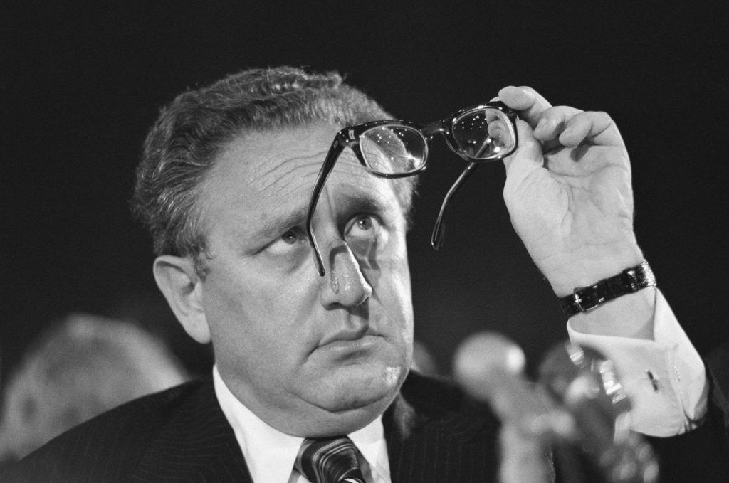 (Original Caption) WASHINGTON, D.C.: U.S. Secretary of State Henry Kissinger appears before the Senate Appropriations Committee in Washington April 15 to urge approval of President Gerald Ford's request for military and humanitarian aid to South Vietnam. After a period in which he was hailed for his diplomatic success, Kissinger recently has been the target of increasing domestic and foreign criticism as events unfold in the Middle East and in Cambodia and South Vietnam.